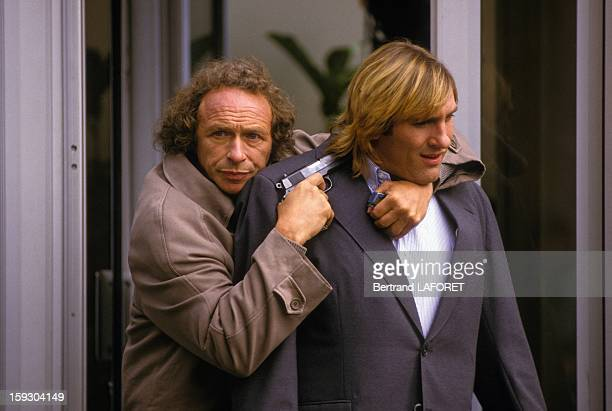 Gerard Depardieu and Pierre Richard on set of movie 'Les Comperes' directed by Francis Veber in 1983 in France