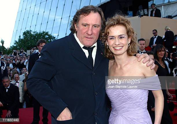 Gerard Depardieu and Sandrine Bonnaire during 2003 Cannes Film Festival 'Tribute to Maurice Pialat and Daniel Toscan du Plantier' Premiere at Palais...
