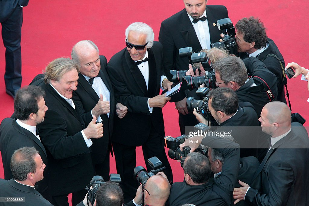 Gerard Depardieu and Sepp Blatter attend 'The Homesman' premiere during the 67th Annual Cannes Film Festival on May 18, 2014 in Cannes, France.