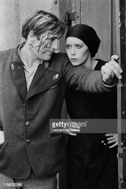 Gerard Depardieu and Sylvia Kristel on the set of Rene la Canne directed by Francis Girod 1976