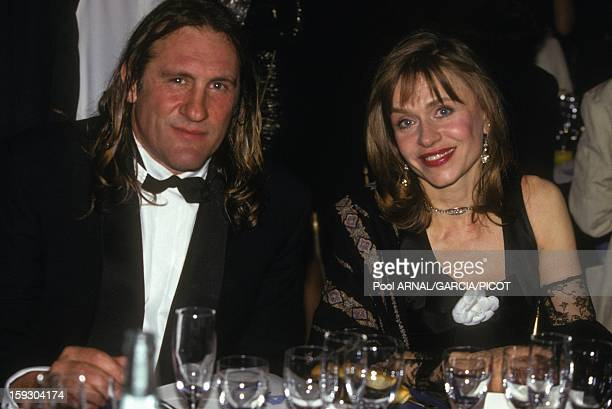 Gerard Depardieu and wife Elisabeth at Cannes Film Festival opening dinner as President of the jury on May 7 1992 in Cannes France