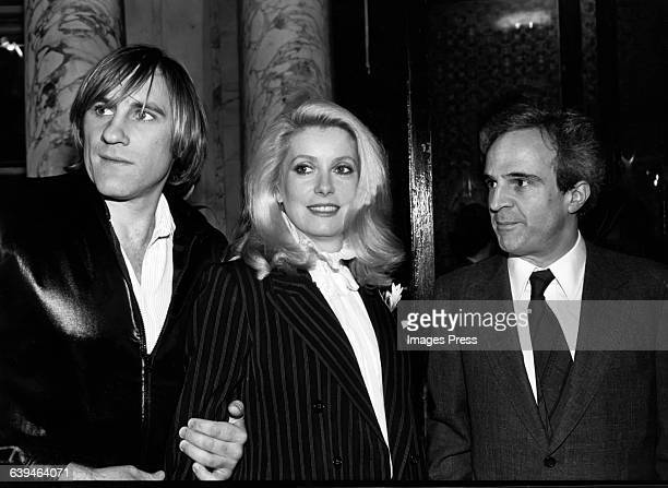 "Gerard Depardieu, Catherine Deneuve and Francois Truffaut attends ""The Last Metro"" New York Film Festival Screening circa 1980 in New York City."