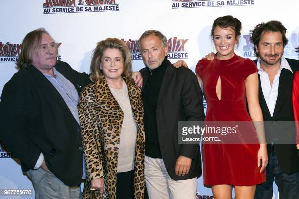 Gerard Depardieu Catherine Deneuve Fabrice Luchini Charlotte Le Bon and Edouard Baer attend at 'Asterix et Obelix au service de sa majeste' film...