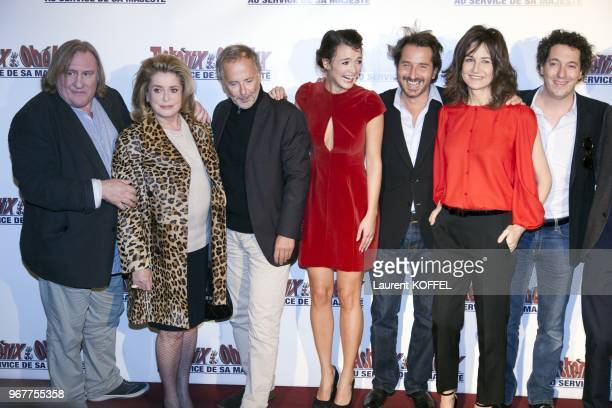"Gerard Depardieu, Catherine Deneuve, Fabrice Luchini, Edouard Baer and Valerie Lemercier attend at ""Asterix et Obelix: au service de sa majeste"" film..."