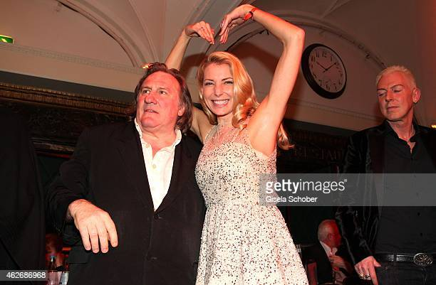 Gerard Depardieu Giulia Siegel during the Lambertz Monday Night 2015 at Alter Wartesaal on February 2 2015 in Cologne Germany