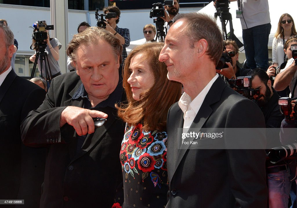 Gerard Depardieu, Isabelle Huppert and director Guillaume Nicloux attend the'Valley Of Love' Premiere during the 68th annual Cannes Film Festival on May 22, 2015 in Cannes, France.
