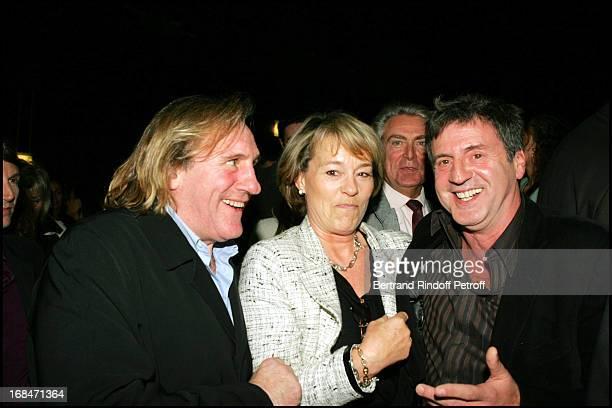 Gerard Depardieu Martine Monteil and Daniel Auteuil at Film Premiere Of '36 Quai Des Orfevres' At PatheWepler in Paris