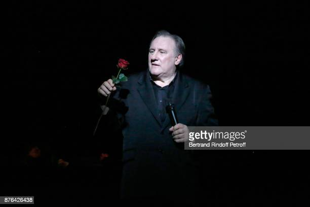 "Gerard Depardieu performs as Barbara makes him triumph in ""Depardieu Chante Barbara"" at ""Le Cirque D'Hiver"" on November 19, 2017 in Paris, France."