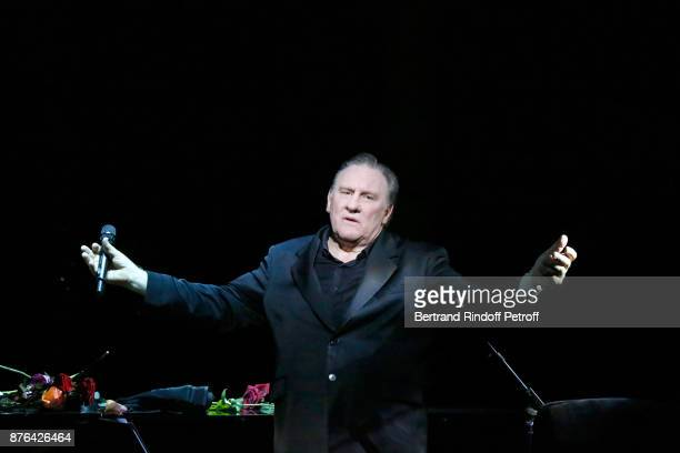 Gerard Depardieu performs as Barbara makes him triumph in Depardieu Chante Barbara at Le Cirque D'Hiver on November 19 2017 in Paris France
