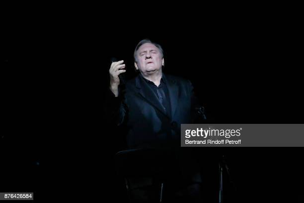 Gerard Depardieu performs as Barbara makes him triumph in 'Depardieu Chante Barbara' at 'Le Cirque D'Hiver' on November 19 2017 in Paris France