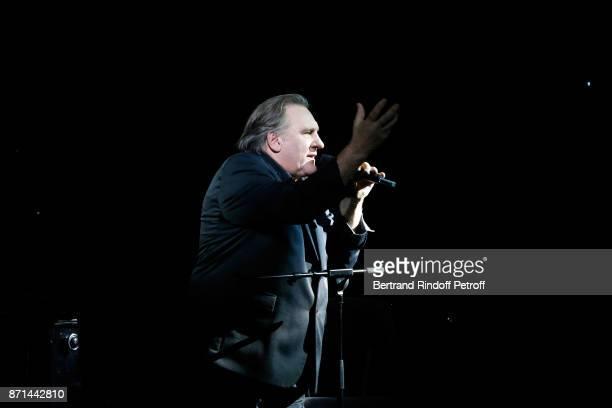 Gerard Depardieu performs during Depardieu Chante Barbara at Le Cirque d'Hiver on November 6 2017 in Paris France