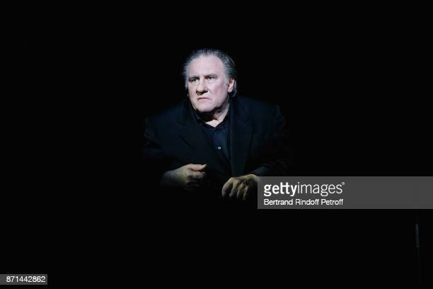 "Gerard Depardieu performs during ""Depardieu Chante Barbara"" at Le Cirque d'Hiver on November 6, 2017 in Paris, France."