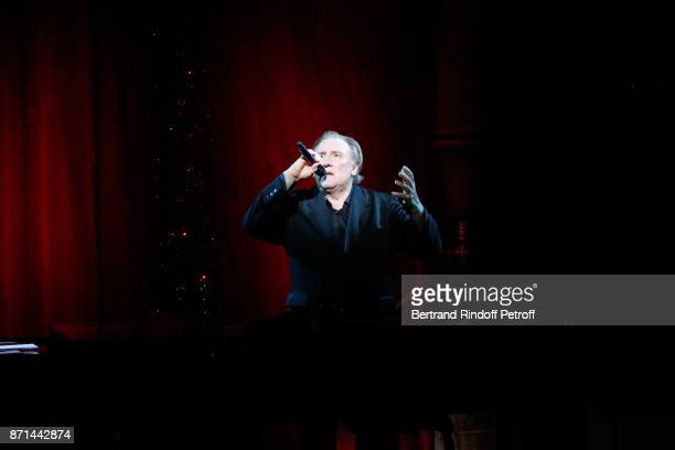 Gerard Depardieu performs during Depardieu Chante Barbara at Le Cirque d'Hiver on November 7 2017 in Paris France
