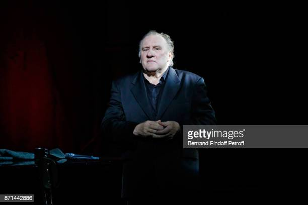 "Gerard Depardieu performs during ""Depardieu Chante Barbara"" at Le Cirque d'Hiver on November 7, 2017 in Paris, France."