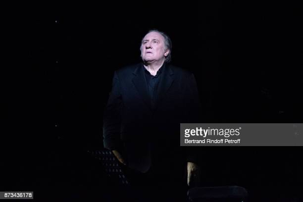 "Gerard Depardieu performs during ""Depardieu Chante Barbara"" at ""Le Cirque D'Hiver"" on November 10, 2017 in Paris, France."