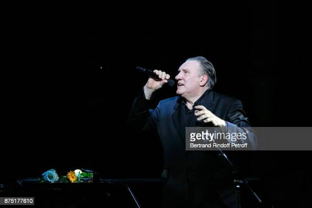 Gerard Depardieu performs during 'Depardieu Chante Barbara' at 'Le Cirque D'Hiver' on November 16 2017 in Paris France