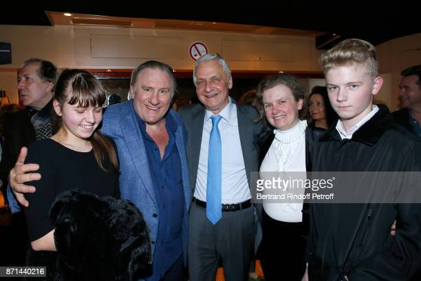 Gerard Depardieu poses with Ambassador of the Russian Federation to Paris Alexandre Orlov his wife Natalia Orlova and their children Zina and...