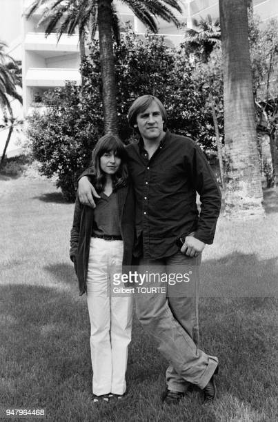 Gerard Depardieu with wife Elisabeth at Cannes Film Festival for movie Bye Bye Monkey directed by Marco Ferreri in May 1978 in Cannes France