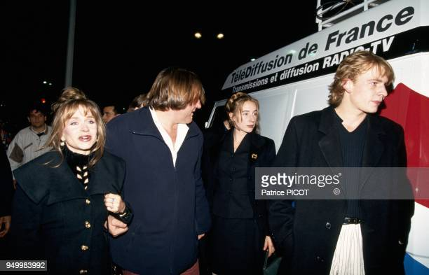 Gerard Depardieu with wife Elisabeth daughter Julie and son Guillaume