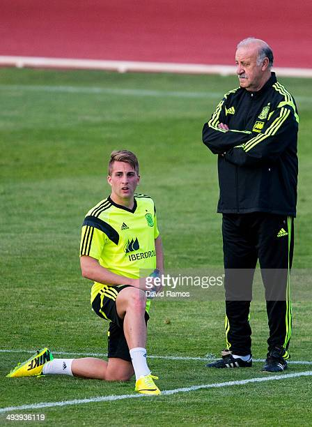 Gerard Deulofeu and head coach Vicente Del Bosque of Spain look on during a training sesion at Ciudad del Futbol on May 26 2014 in Las Rozas de...