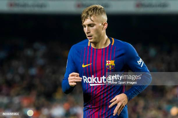 Gerard Deulofeu Lazaro of FC Barcelona reacts during the La Liga 201718 match between FC Barcelona and Malaga CF at Camp Nou on 21 October 2017 in...