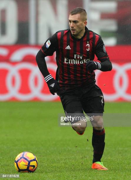 Gerard Deulofeu of AC Milan in action during the Serie A match between AC Milan and UC Sampdoria at Stadio Giuseppe Meazza on February 5 2017 in...