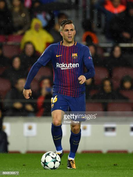 Gerard Deulofeu of Barcelona in action during the UEFA Champions League group D match between FC Barcelona and Olympiakos Piraeus at Camp Nou on...