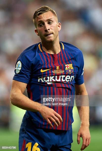 Gerard Deulofeu of Barcelona reacts during the Supercopa de Espana Supercopa Final 2nd Leg match between Real Madrid and FC Barcelona at Estadio...