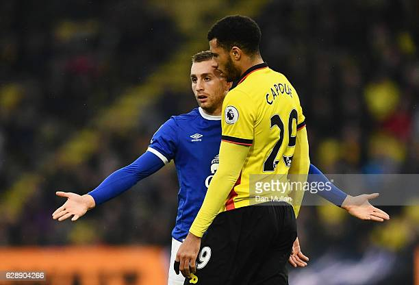 Gerard Deulofeu of Everton and Etienne Capoue of Watford clash during the Premier League match between Watford and Everton at Vicarage Road on...