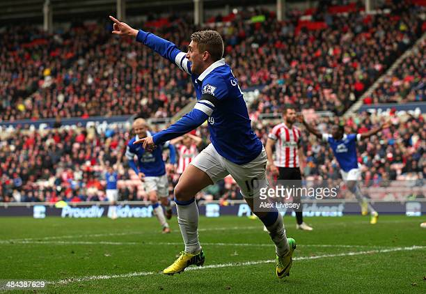 Gerard Deulofeu of Everton celebrates after Wes Brown of Sunderland scores an own goal off his cross during the Barclays Premier League match between...
