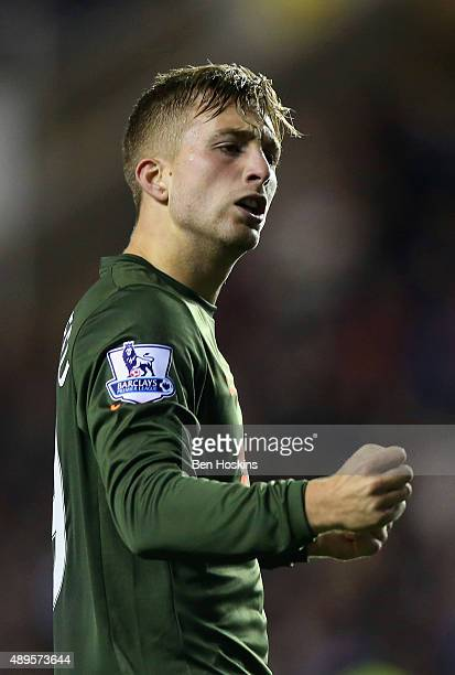 Gerard Deulofeu of Everton celebrates scoring the second goal during the Capital One Cup third round match between Reading and Everton at Madejski...