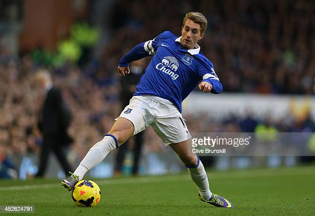 Gerard Deulofeu of Everton in action during the Barclays Premier League match between Everton and Stoke City at Goodison Park on November 30 2013 in...