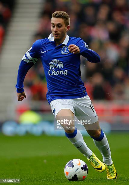 Gerard Deulofeu of Everton in action during the Barclays Premier League match between Sunderland and Everton at the Stadium of Light on April 12 2014...