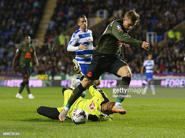 Gerard Deulofeu of Everton is foiled by Ali AlHabsi of Reading during the Capital One Cup third round match between Reading and Everton at Madejski...