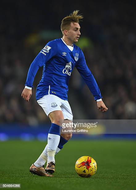 Gerard Deulofeu of Everton looks on during the Capital One Cup Semi Final First Leg match between Everton and Manchester City at Goodison Park on...