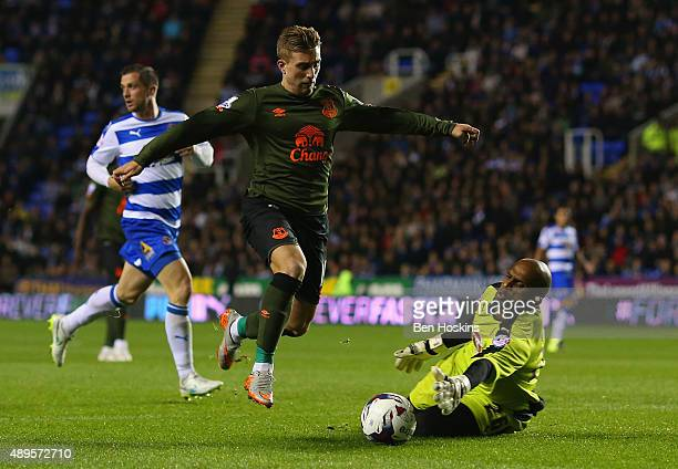 Gerard Deulofeu of Everton looks to go past Ali AlHabsi of Reading during the Capital One Cup third round match between Reading and Everton at...