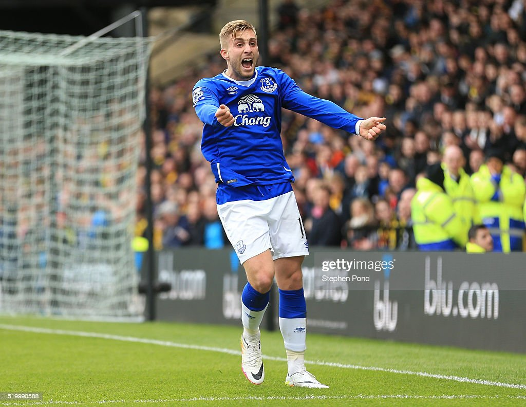 Gerard Deulofeu of Everton reacts during the Barclays Premier League match between Watford and Everton at Vicarage Road on April 9, 2016 in Watford, England.