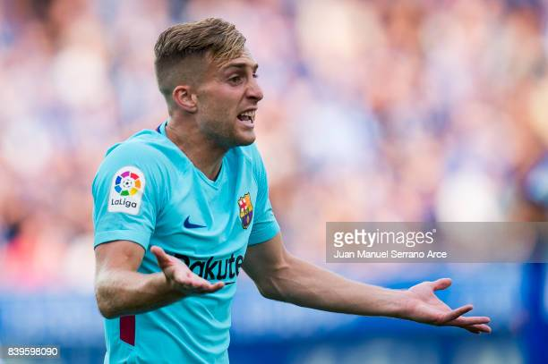 Gerard Deulofeu of FC Barcelona reacts during the La Liga match between Deportivo Alaves and Barcelona at Estadio de Mendizorroza on August 26 2017...