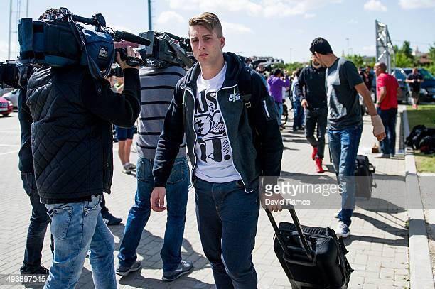 Gerard Deulofeu of Spain arrives for a training camp at Ciudad del Futbol on May 26 2014 in Las Rozas de Madrid Spain