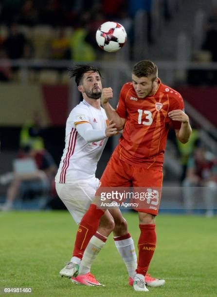 Gerard Deulofeu of Spain in action against Stefan Ristovski of Macedonia during the FIFA 2018 World Cup Qualifiers Group G match between Macedonia...