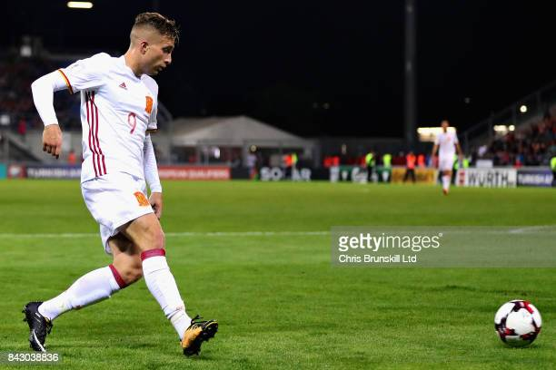 Gerard Deulofeu of Spain takes the shot that led to his sides eighth goal during the FIFA 2018 World Cup Qualifier between Liechtenstein and Spain at...