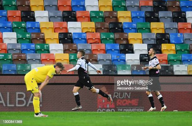 Gerard Deulofeu of Udinese celebrates after scoring their side's second goal during the Serie A match between Udinese Calcio and Hellas Verona FC at...