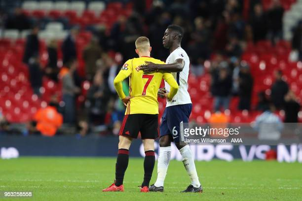 Gerard Deulofeu of Watford and Davinson Sanchez of Tottenham during the Premier League match between Tottenham Hotspur and Watford at Wembley Stadium...