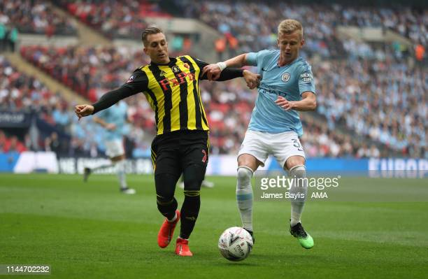 Gerard Deulofeu of Watford and Oleksandr Zinchenko of Manchester City during the FA Cup Final match between Manchester City and Watford at Wembley...