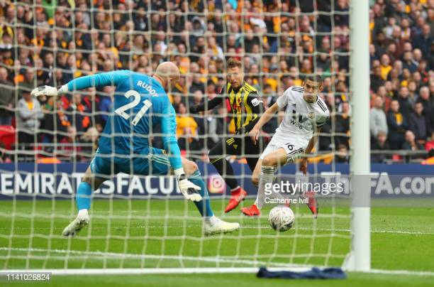 Gerard Deulofeu of Watford beats John Ruddy and Conor Coady of Wolverhampton Wanderers as he scores their third goal during the FA Cup Semi Final...