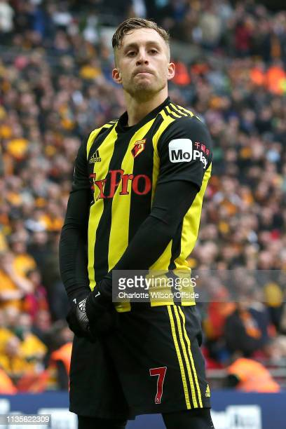 Gerard Deulofeu of Watford calmly celebrates scoring their 3rd goal to bring the score up to 3-2 in extra time during the FA Cup Semi Final match...