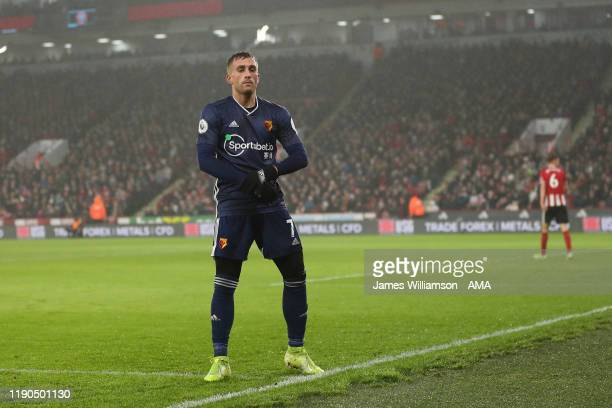 Gerard Deulofeu of Watford celebrates after scoring a goal to make it 0-1 during the Premier League match between Sheffield United and Watford FC at...