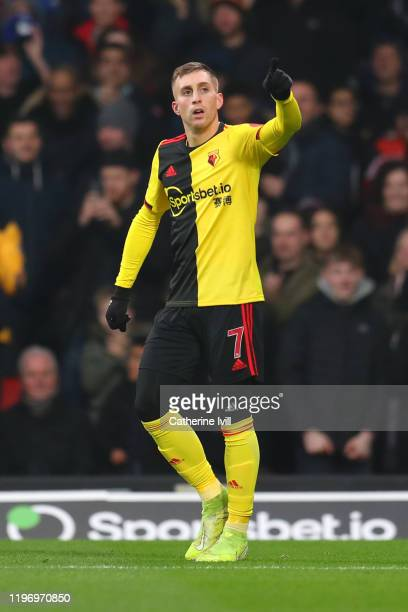 Gerard Deulofeu of Watford celebrates after scoring his sides first goal during the Premier League match between Watford FC and Wolverhampton...