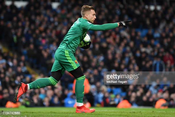 Gerard Deulofeu of Watford celebrates after scoring his team's first goal during the Premier League match between Manchester City and Watford FC at...