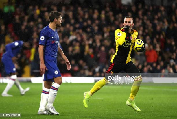 Gerard Deulofeu of Watford celebrates after scoring his team's first goal during the Premier League match between Watford FC and Chelsea FC at...